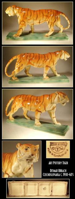CZECH ART POTTERY D. URBACH TIGER FIGURINE