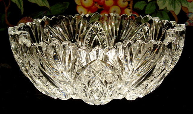 CZECH ART DECO CUT CRYSTAL 7 pc BERRY SET #187