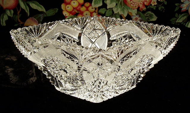 CZECH ART DECO CUT CRYSTAL BOWL #188