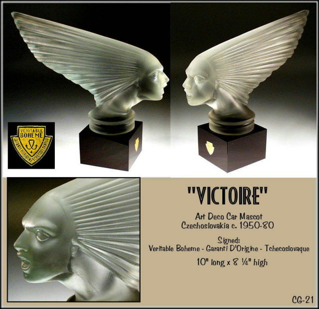 VINTAGE GLASS HOOD ORNAMENT CAR MASCOT VICTOIRE