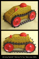 US ARMY WIND UP TANK #4 TIN TOY MARX c.1930's