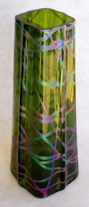 ANTIQUE BOHEMIAN ART GLASS VASE KRALIK c.1900
