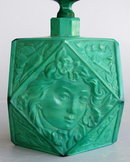 CZECH 1930's VINTAGE FIGURAL JADE GLASS PERFUME