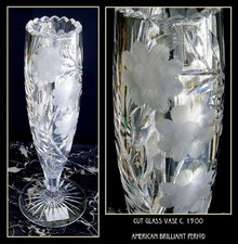 CUT GLASS VASE AMERICAN BRILLIANT PERIOD #63