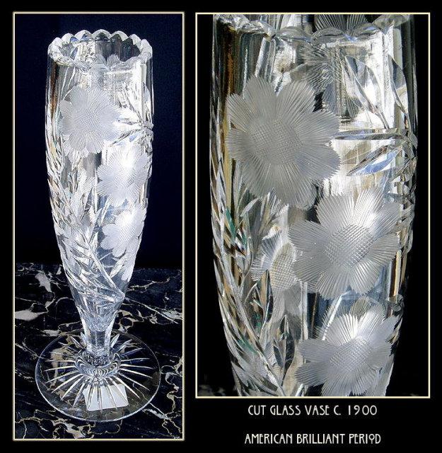 CUT GLASS VASE AMERICAN BRILLIANT PERIOD #63