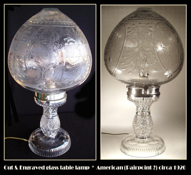 AMERICAN CUT GLASS TABLE LAMP PAIRPOINT? #64