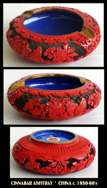 CHINESE CARVED CINNABAR ASHTRAY OR037