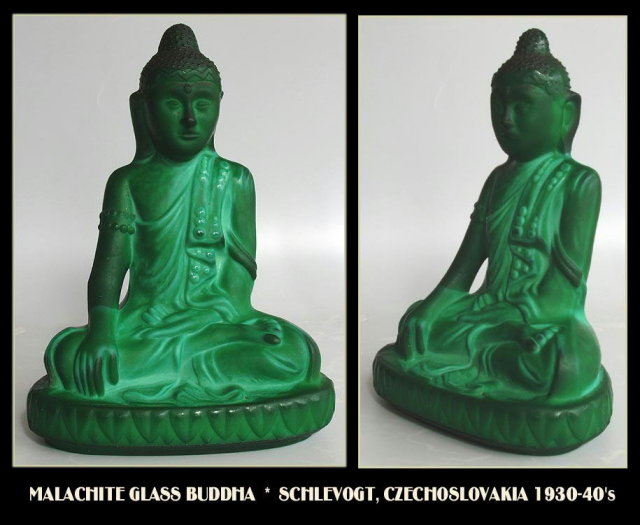 CZECH 1930's MALACHITE COLOR GLASS BUDDHA