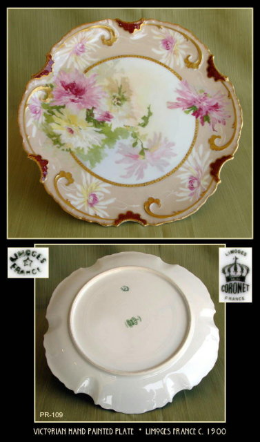 ANTIQUE LIMOGES HAND PAINTED PLATE PR109