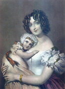 VICTORIAN HAND TINTED LITHO MOTHER & BABY AT12