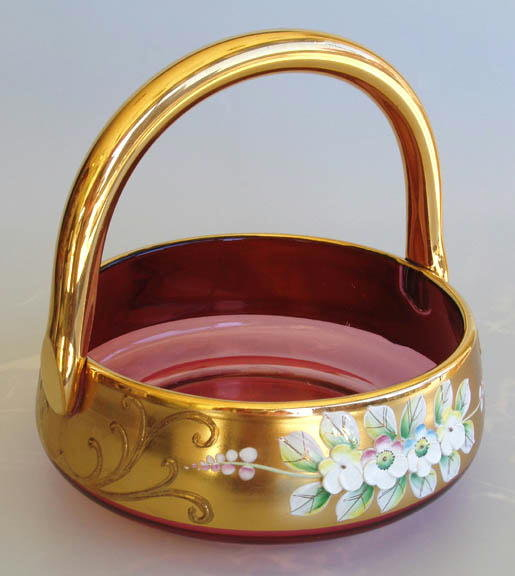 CZECH VINTAGE ENAMELED CRANBERRY GLASS BASKET