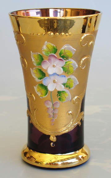 CZECH 1930's ENAMELED AMETHYST GLASS LIQUEUR
