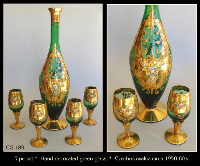 CZECH 1930's ENAMELED GREEN GLASS DECANTER SET