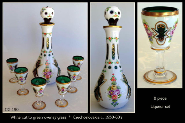 CZECH VINT WHITE CUT TO GREEN GLASS LIQUEUR SET