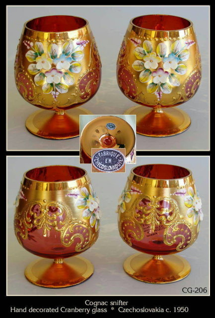 (6) CZECH ENAMELED CRANBERRY GLASS COGNAC