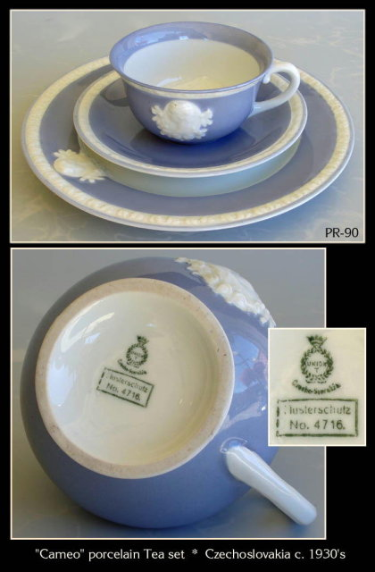 VINTAGE 1930's CZECHOSLOVAKIA 17pc CAMEO TEA