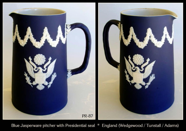 BLUE JASPERWARE PITCHER US PRESIDENTIAL SEAL