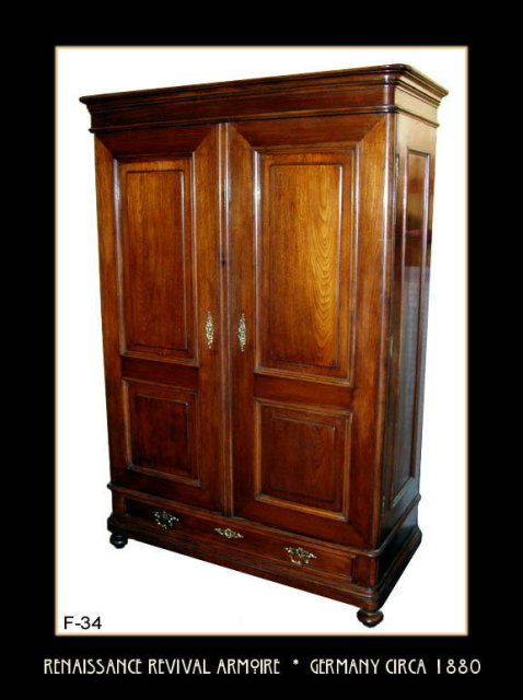 RENAISSANCE REVIVAL WALNUT ARMOIRE GERMANY