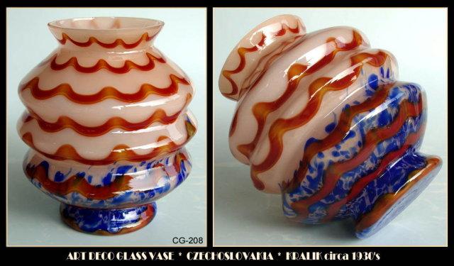 CZECH ART DECO GLASS VASE KRALIK c.1920-30 CG208