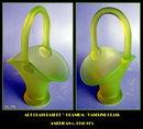 VINTAGE VASELINE / URANIUM GLASS BASKET GL-76