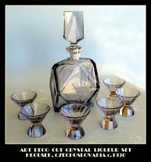 CUT & ENGRAVED 7 PC LIQUEUR SET HLOUSEK