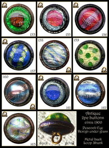 SET OF 10 ANTIQUE BUTTONS 2pc DUG / Peacocks