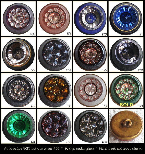 14 ANTIQUE 2pc GLASS / METAL DUG BUTTONS #168-84