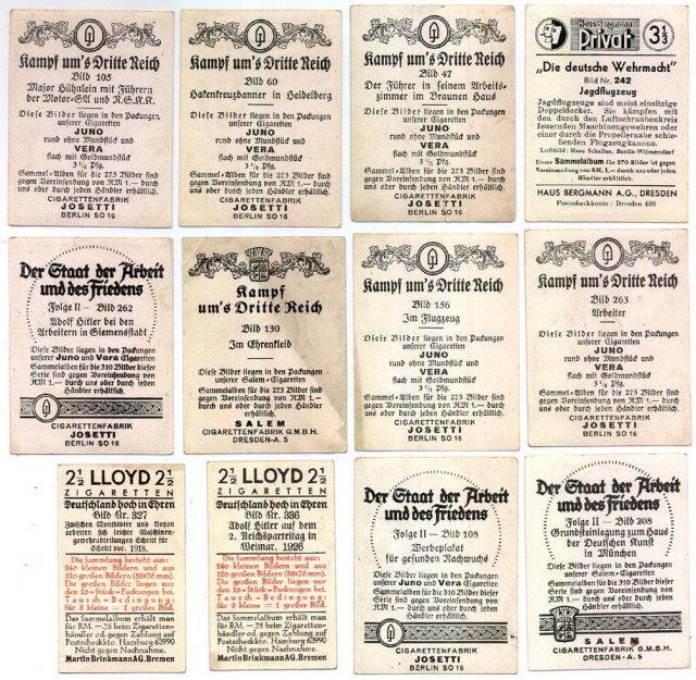 SET OF 12 GERMAN CIGARETTE CARDS c. 1930's P111