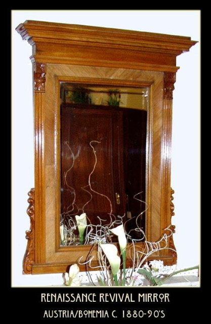 RENAISSANCE REVIVAL BURL WALNUT MIRROR