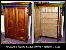 GERMAN RENAISSANCE REVIVAL WALNUT ARMOIRE c.1880
