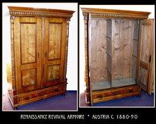 RENAISSANCE REVIVAL POPLAR / ASH ARMOIRE c.1900