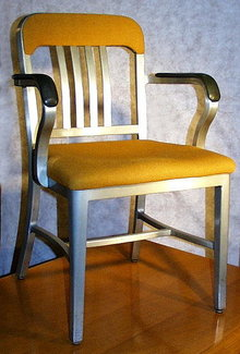 VINTAGE GOODFORM CHAIR ALUMINUM NAVY EMECO INDUSTRIAL