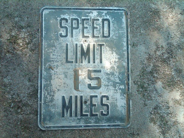 SPEED LIMIT 15 MILES HIGHWAY ROAD SIGN STEEL WALL DECORATION DOOR ORNAMENT