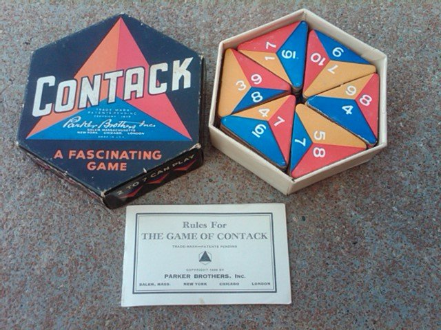 PARKER BROTHERS CONTACK GAME DEPRESSION ERA FAMILY PASTIME