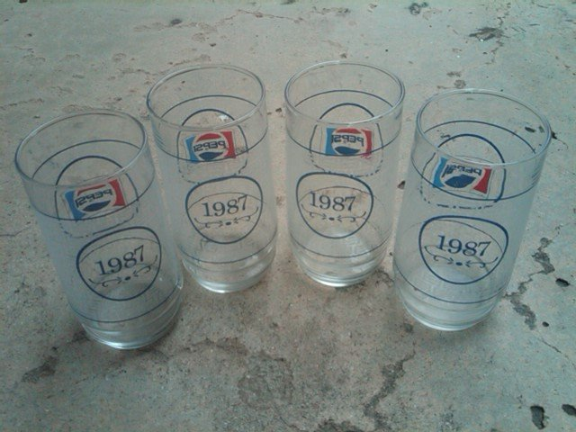 PEPSI COLA 1987 SOFT DRINK SODA POP TUMBLER GLASS RETRO KITCHEN BAR UTENSIL SET
