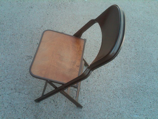 CLARIN STEEL FOLDING CHAIR WOOD VENEER SEAT BOARD DEPRESSION ERA KITCHEN TABLE DESK FURNITURE
