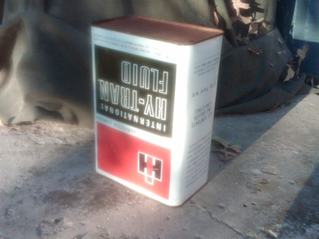 INTERNATIONAL HARVESTER TRANSMISSION  OIL LUBRICANT CAN TIN TUB ADVERTISING CANNISTER