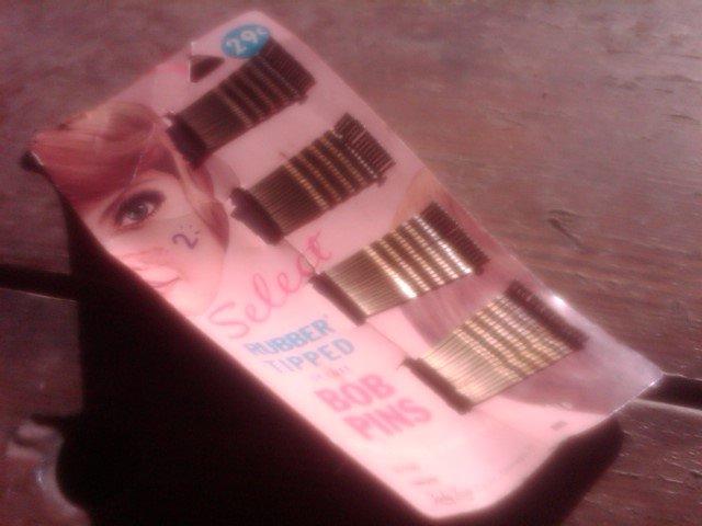 LADY LORA  RUBBER TIP BOB PINS BOBBY STYLE HAIR CARE ACCESSORY ORIGINAL RETRO ERA STORE CARD