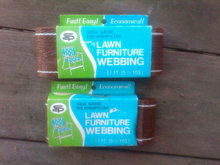 LAWN FURNITURE WEBBING POLYPROPYLENE STRAPPING RETRO CHAIR REPAIR TAPE NEW BEDFORD INDIANA CARDBOARD PACKAGING