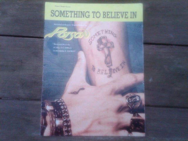 POISON SOMETHING TO BELIEVE IN SHEET MUSIC ROCK ROLL BAND COLLECTIBLE
