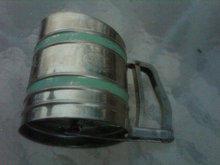 FLOUR SIFTER SAVORY SIFT CHINE BRAND GREEN STRIPE STEEL UTENSIL DEPRESSION ERA BAKING TOOL
