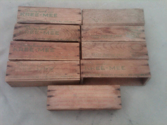 WOODEN CHEESE BOX DAIRY CRATE KREE MEE BRAND CHICAGO ILLINOIS ADVERTISING