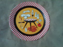 RETRO CHECKERBOARD BAR B Q PLATTER PAINTED TIN METAL FOOD SERVING TRAY DECORATIVE PLATE