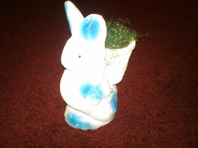 PAPER MACHE RABBIT CANDY CONTAINER EASTER HOLIDAY DECORATION AMERICAN DEPRESSION ERA DECORATIVE ORNAMENT