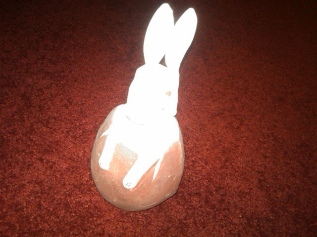 PAPER MACHE RABBIT RED EGG CANDY CONTAINER EASTER DECORATION AMERICAN DEPRESSION ERA ORNAMENT