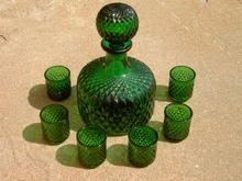 GREEN DECANTER GLASS TUMBLER CUP SET RETRO LIQUOR BAR LOUNGE ACCESSORY KITCHEN GLASSWARE