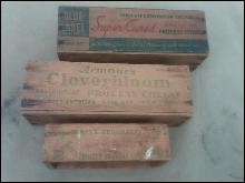 WOODEN CHEESE BOX DAIRY CRATE SWIFTS BROOKFIELD ARMOUR CLOVERBLOOM PABST ETT BLUE LABEL PAINTED ADVERTISING