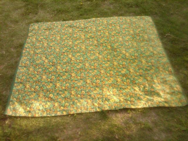 YELLOW ORANGE FLORAL FLOWER BLANKET TROUSER SLACK QUILT WALL TAPESTRY