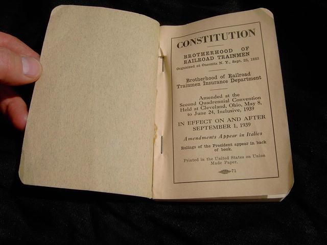 RAILROAD TRAINMEN CONSTITUTION BOOKLET