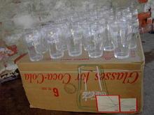 COKE FOUNTAIN GLASS SODA TUMBLER BELL SHAPED BEVERAGE CUP ORIGINAL CARDBOARD BOX